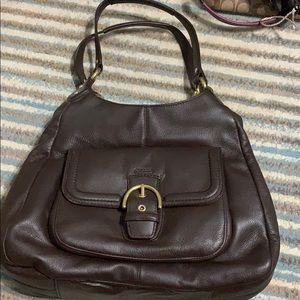Dark drown leather coach purse
